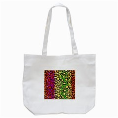 Rainbow Cheetah Abstract Tote Bag (White)