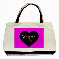 Hot Pink Vape Heart Twin Sided Black Tote Bag