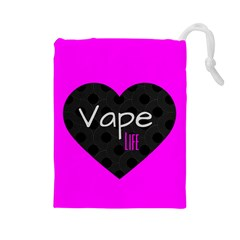 Hot Pink Vape Heart Drawstring Pouch (Large)