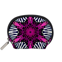 Crazy Hot Pink Zebra  Accessory Pouch (Small)