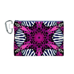 Crazy Hot Pink Zebra  Canvas Cosmetic Bag (Medium)