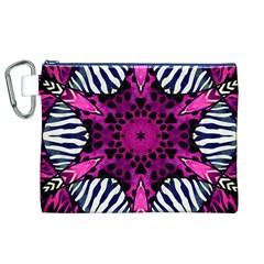 Crazy Hot Pink Zebra  Canvas Cosmetic Bag (XL)
