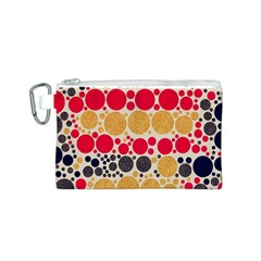 Retro Polka Dots  Canvas Cosmetic Bag (Small)