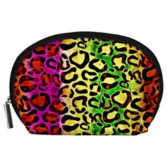 Rainbow Cheetah Abstract Accessory Pouch (Large)