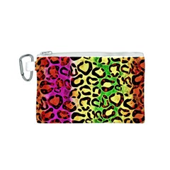 Rainbow Cheetah Abstract Canvas Cosmetic Bag (Small)
