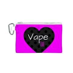 Hot Pink Vape Heart Canvas Cosmetic Bag (Small)