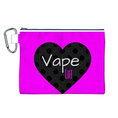 Hot Pink Vape Heart Canvas Cosmetic Bag (Large)
