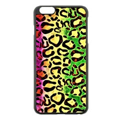 Rainbow Cheetah Abstract Apple Iphone 6 Plus Black Enamel Case