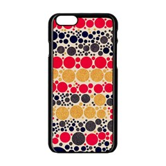 Retro Polka Dots  Apple iPhone 6 Black Enamel Case