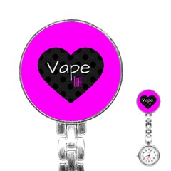 Hot Pink Vape Heart Stainless Steel Nurses Watch