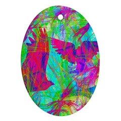 Birds In Flight Oval Ornament (two Sides)