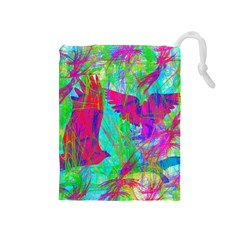 Birds In Flight Drawstring Pouch (Medium)