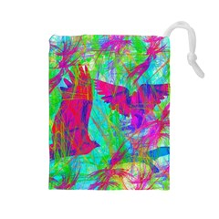 Birds In Flight Drawstring Pouch (Large)