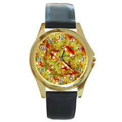 Christmas Print Motif Round Leather Watch (gold Rim)