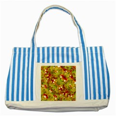 Christmas Print Motif Blue Striped Tote Bag