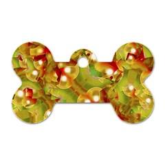 Christmas Print Motif Dog Tag Bone (one Sided)