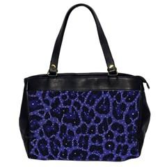 Blue Leapord Bling Oversize Office Handbag (two Sides)