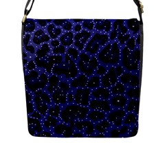 Blue Leapord Bling Flap Closure Messenger Bag (Large)