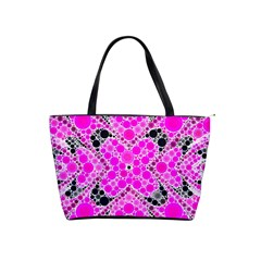 Bling Pink Black Kieledescope  Large Shoulder Bag