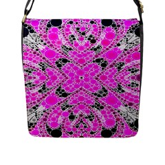 Bling Pink Black Kieledescope  Flap Closure Messenger Bag (large)