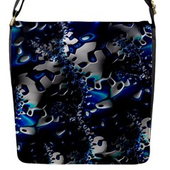 Glossy Blue Fractal  Flap Closure Messenger Bag (small)