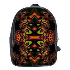 Crazy Florescent Fractal School Bag (large)