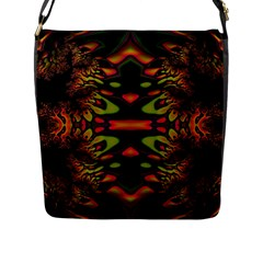 Crazy Florescent Fractal Flap Closure Messenger Bag (large)