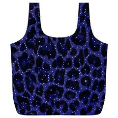 Blue Leapord Bling Reusable Bag (XL)