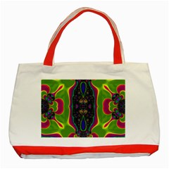 Hippie Fractal  Classic Tote Bag (red)