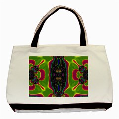 Hippie Fractal  Twin Sided Black Tote Bag