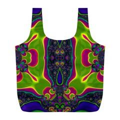 Hippie Fractal  Reusable Bag (L)