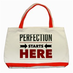 Perfection Starts Here  Classic Tote Bag (Red)