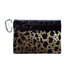Cheetah Stars Gold  Canvas Cosmetic Bag (Medium)