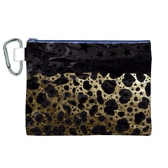 Cheetah Stars Gold  Canvas Cosmetic Bag (xl)
