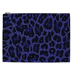 Blue Leapord Bling Cosmetic Bag (xxl)