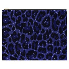 Blue Leapord Bling Cosmetic Bag (xxxl)