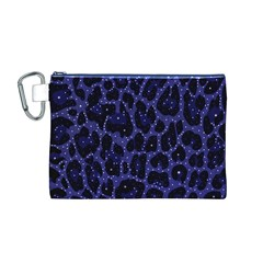 Blue Leapord Bling Canvas Cosmetic Bag (Medium)