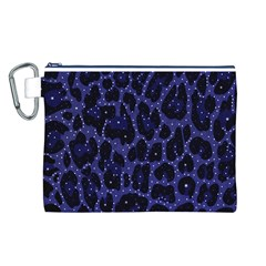 Blue Leapord Bling Canvas Cosmetic Bag (Large)