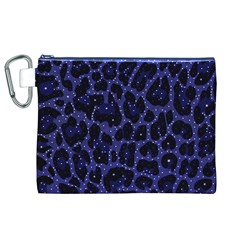 Blue Leapord Bling Canvas Cosmetic Bag (XL)