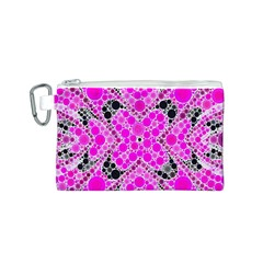 Bling Pink Black Kieledescope  Canvas Cosmetic Bag (Small)
