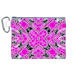Bling Pink Black Kieledescope  Canvas Cosmetic Bag (xl)
