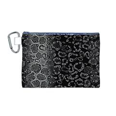 Black Cheetah Abstract Canvas Cosmetic Bag (medium)