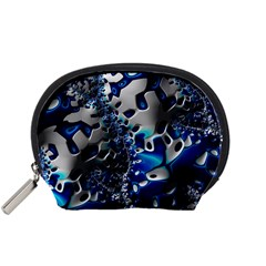 Glossy Blue Fractal  Accessory Pouch (Small)