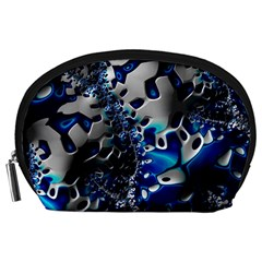 Glossy Blue Fractal  Accessory Pouch (Large)