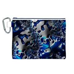 Glossy Blue Fractal  Canvas Cosmetic Bag (Large)