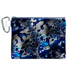 Glossy Blue Fractal  Canvas Cosmetic Bag (xl)
