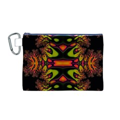 Crazy Florescent Fractal Canvas Cosmetic Bag (Medium)