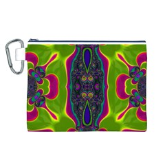 Hippie Fractal  Canvas Cosmetic Bag (Large)