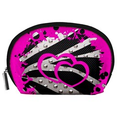 Torn Zebra Heart Accessory Pouch (Large)