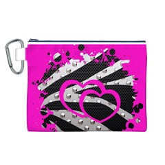Torn Zebra Heart Canvas Cosmetic Bag (Large)